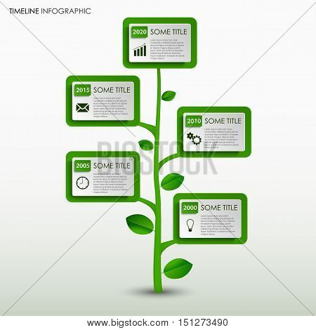 Time line info graphic with abstract green tree design template vector eps 10