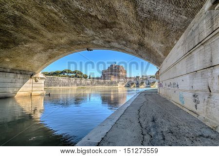 View of Castel Sant'Angelo from the banks of the Tiberin Rome italy