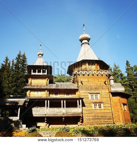 Prophet Elijah's skete on Lembos Island. Valaam Monastery Karelya. Aged photo. The rebuilt church. Beautiful churches of russian north.