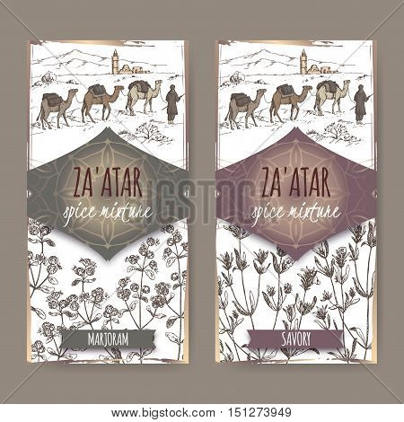 Two Zaatar spice mixture labels with desert landscape, marjoram and savory sketch. Culinary herbs collection. Great for cooking, medical, gardening design.