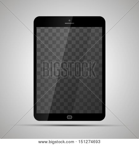 Mock up of realistic glossy tablet with transparent place for screen on light background