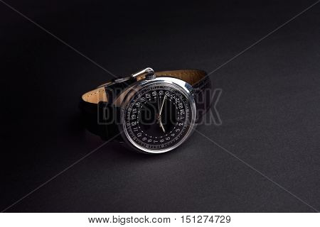 Classic Wristwatch For Man On Black Background. Time