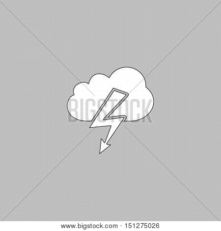 storm Simple line vector button. Thin line illustration icon. White outline symbol on grey background