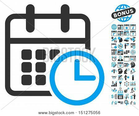 Timetable pictograph with bonus calendar and time management images. Glyph illustration style is flat iconic bicolor symbols blue and gray colors white background.