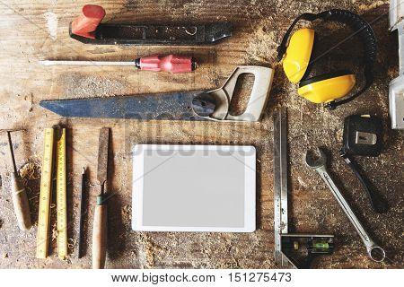 Wood shop Timber Lumber Professional Tools Concept