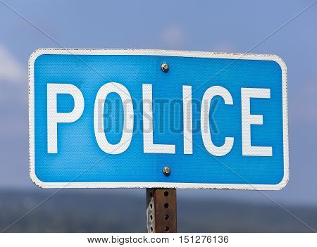 The police sign on Honolulu city streets (Hawaii).