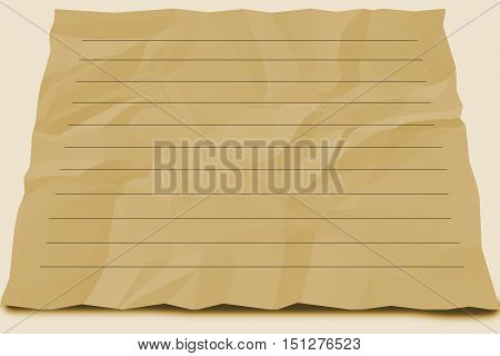 emply square brown paper crumpled for write