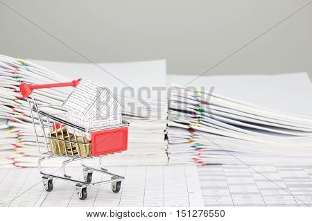 House In Shopping Cart With Gold Coins On Finance Account
