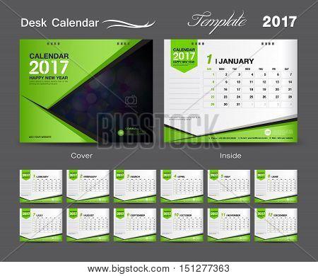 set Green Desk Calendar 2017 template design, cover Desk Calendar, flyer design
