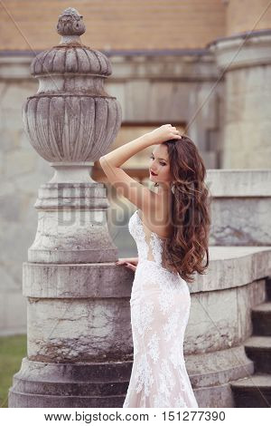 Elegant Bride Woman Wedding Portrait, Vogue Style Photo. Fashion Brunette Model Posing In Long White