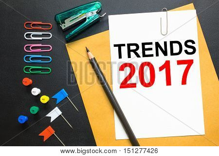Text TRENDS 2017 on white paper background