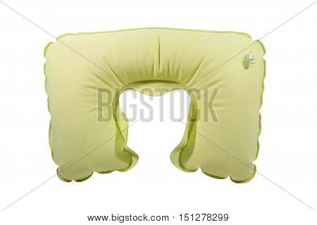 Yellow inflatable neck pillow isolated on white background.