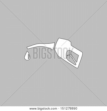 Gasoline pump nozzle Simple line vector button. Thin line illustration icon. White outline symbol on grey background