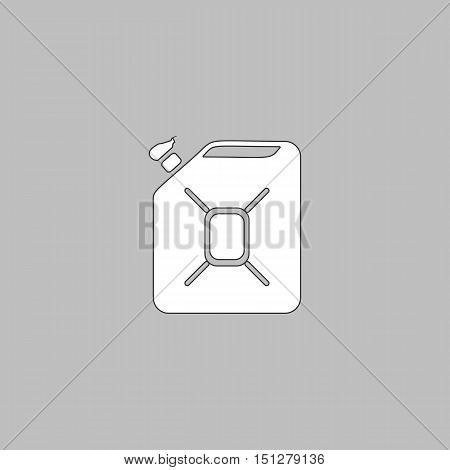 Jerrycan oil Simple line vector button. Thin line illustration icon. White outline symbol on grey background