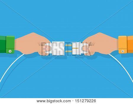 Two hands trying to connect electric plug together, Connection, Teamwork. vector illustration in flat style