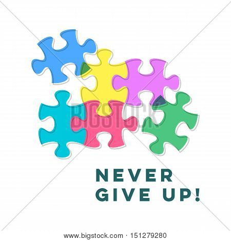 Never give up inspiring motivation quote with puzzle