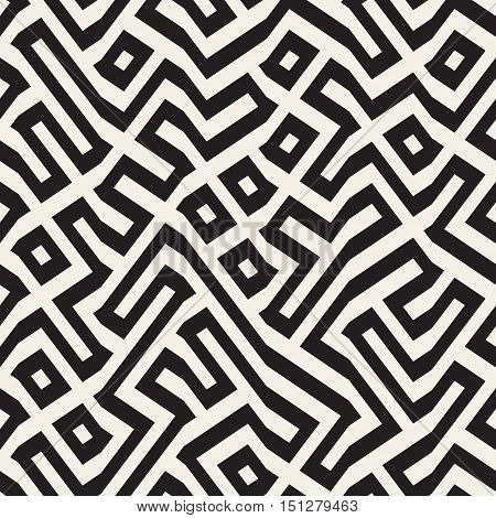 Vector Seamless Maze Lines Pattern. Abstract Geometric Background Design