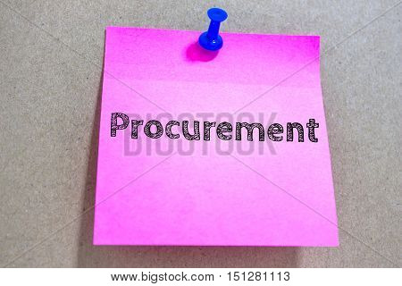 Text Procurement on pink paper note / business concept