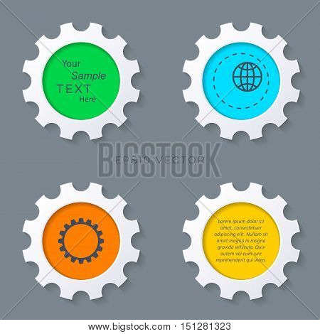 Colorful gears buttons with shadows infographics vector illustration