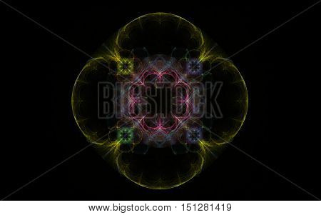 fractal abstract flower of four petals yellow with red midpoint of the eight petals on a black background