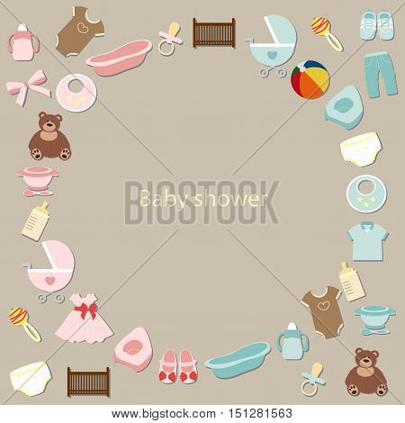 big set of baby elements for newborn care baby. for girl and boy. icon collection. baby shower and arrival. Vector illustration
