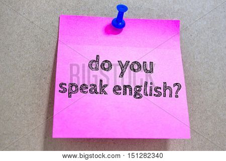 Text do you speak english on paper