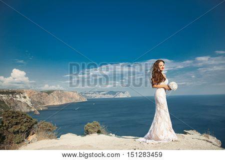Beautiful Bride In Wedding Dress Outdoors Photo. Landscape Background.