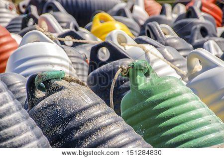 buoys closeup background texture colorful details plastic