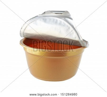 Brown Plastic Cup Foil Cover isolated on white background
