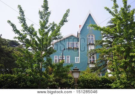 A european designed blue house in the Badaguan scenic area in Qingdao China in Shandong province.