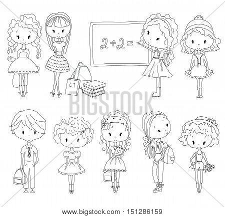 Vector Coloring book pupil. Adult coloring school children. Girls and boys. Schoolgirl and Schoolboy