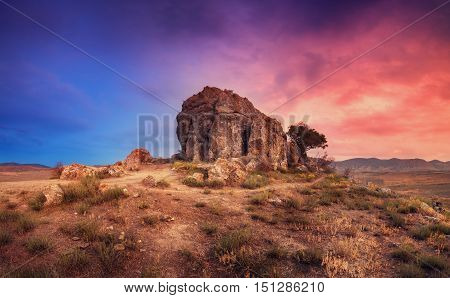 Desert With Lonely Rock At Sunset. Beautiful Landscape