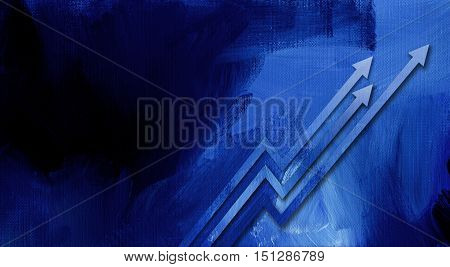 Graphic illustration of upwards arrows signifying growth and improvement against hand painted textured background.