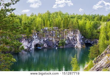 Landscape with Marble Canyon in Karelia Ruskeala Russia