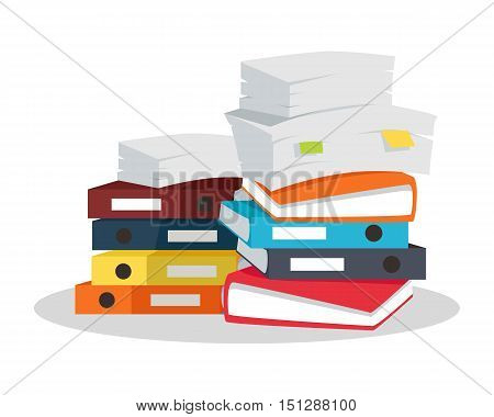 Stack of papers. Large number of business documents with bookmarks. Colorful binders.Paper work, office routine, bureaucracy concept. Flat design.
