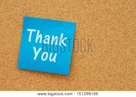 A Thank You message Bulletin board with a blue sticky note with text Thank You