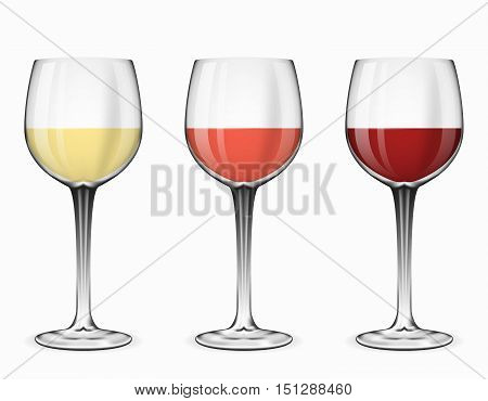 Wine glasses vector. Glass of red wine, rose wine and white wine on white illustration