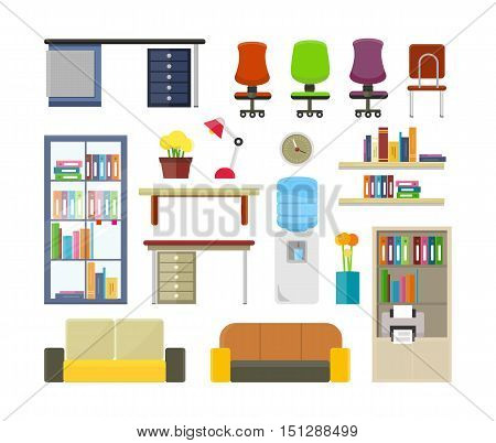 Set of modern office furniture illustrations. Elements of business interior. Table, chair, sofa, shelves, boiler, rack, flowers, clock, lamp in flat style. For design concepts icons infographics