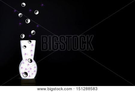 Purple sparkles and feng shui symbol coming out of a white glowing vase