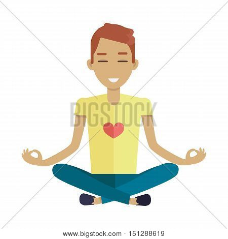 Young man in yellow shirt and blue pants making meditation in lotus pose. Zen man in yoga pose. Meditating man. Isolated object in flat design on white background.
