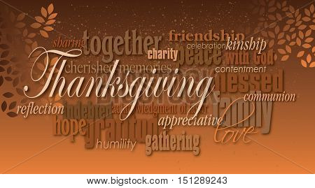 Graphic typographic montage illustration of the word Thanksgiving composed of associated terms and defining words in neutral tones. A pair of autumn leaves completes this dramatic inspirational design.