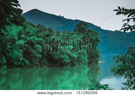 The reservoir scenery and mountain background scenery in summer