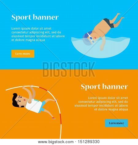 Swimming and pole vault sports banners. Swimmer in goggles and cap in swimming pool. Male athlete in sports uniform performing a pole vault. Species of event. Summer games background