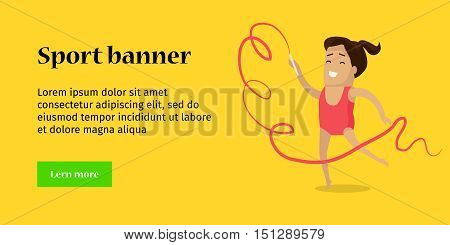 Sport banner. Artistic gymnastics sport template. Summer games colorful banner. Competitions, achievements, Vector