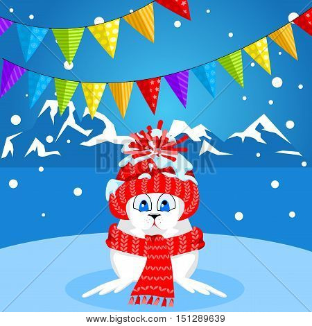 Arctic animals character and background, Winter Landscape, Nature Travel Wildlife. Merry Christmas