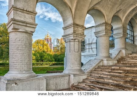 Porch of the Cathedral Church of the Smolensk icon of the Mother of God in the Novodevichy convent in Moscow