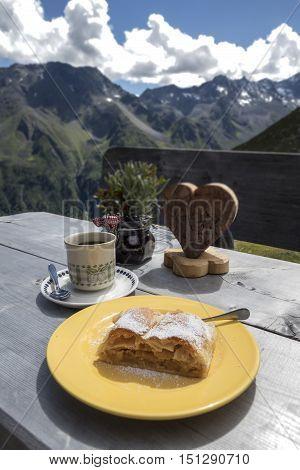 apfelstrudel in the austrian alps in autumn