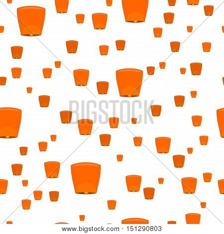 Seamless pattern with sky lanterns isolated on white. Orange Kongming lantern or Chinese lantern. Hot air balloon made of paper, with opening at bottom where small fire is suspended. Vector illustration