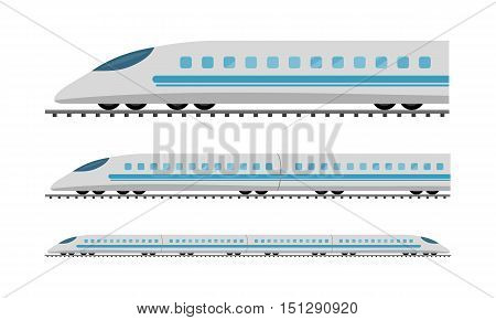 Set of subway trains isolated on white. Vehicles carry large number of passengers. High speed inter-city commuter train. Isometric train. Public electric transport. Transportation item. Vector