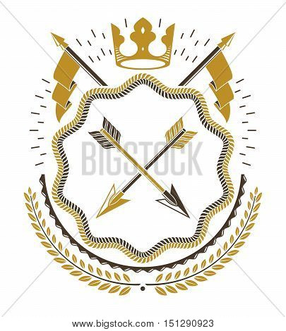 Vector royal decorative emblem vintage heraldic design.